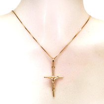 Corrente Feminina De 45 Cm E Pingente Crucifixo De Ouro 18k