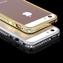 Capa Bumper Alumínio Strass Iphone 5 5s + Película Vidro