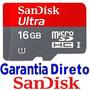 Cartão Micro Sandisk Sd Sdhc 16gb Ultra Classe10 30mb/s 200x