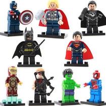 Kit 9 Mini Figuras Super Heroes Batman E Outros.