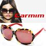 Óculos De Sol Carmim Feminino Vermelho Marrom Tartaruga