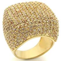 Anel Quadrado Cravejado Zirconias Folheado A Ouro 18k Luxo