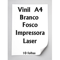 Vinil Adesivo Branco Fosco A4 Para Impressora Laser