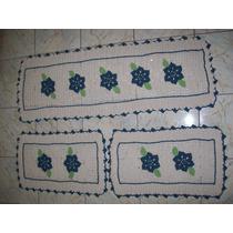 Passadeira C/ 2 Tapetes De Crochê Em Barbante - Várias Cores