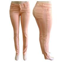 Calça Colorida Feminina Rosa Coral Com Lycra (elastano)