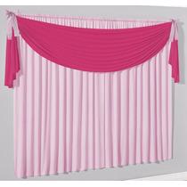 Cortina Lacinho 2m X 1,7m - Tecido Malha - Rosa/pink