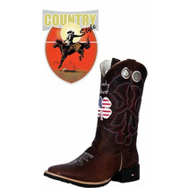 Bota Texana Mr. West Live Lucky Usa Bico Quadrado Cano Alto