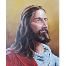 Quadro Jesus Cristo Pintura Sacra Óleo Sobre Tela 50x60cm
