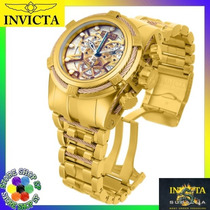 Relógio Invicta Bolt Zeus 13756 Gold Rosê Skelecton Original