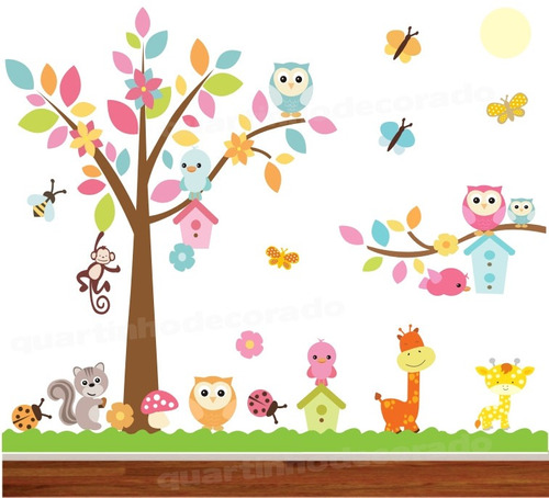Adesivo papel parede quarto infantil coruja zoo safari 2 for Papel de pared infantil