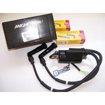 Bobina Ignição Magnetron C/ Cachimbos Ngk Honda Cb 400 450