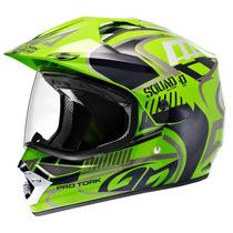 Capacete De Moto Vision Pro Pro Tork Squad Verde + Brinde