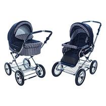 Carrinho Bebê Roan Kortina Stroller 2 Em 1 - Xadrez Azul