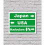 Nova Placa Direções Hadouken Com Adesivo 18x23 Cm
