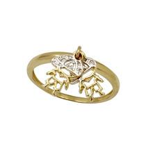 Anel Pingente Meninos Em Ouro 18 K E Diamantes