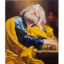 Quadro São Pedro Pintura Sacra Óleo Sobre Tela 50x60cm