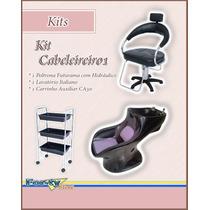 Kit Cabeleireiro 1 - Lavatório, Poltrona E Carrinho