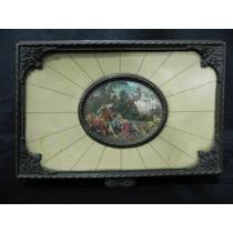 Caixa Porta Jóias Antigo Metal Marfinite Pintura - Cód 287