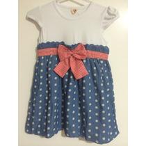 Vestido Infantil Renda Laço Xadrez Vermelho Jeans Azul Festa