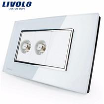 Espelho Livolo 2 Entrada Tv (coaxial) Acabament Vidro Branco