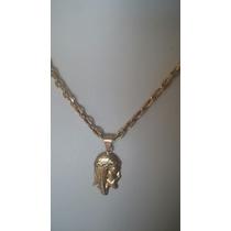 Cordão E Medalha Face De Cristo Com 21 Gramas D Ouro 18k 750