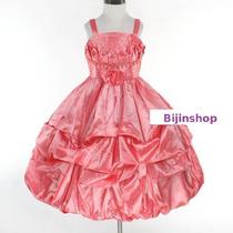 Vestido Infantil Festa/princesa/dama Roxo/salmão/bco Tafeta