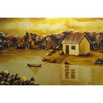 Pintura Óleo Sobre Tela-paisagem Dourada(60x40cm)sem Moldura