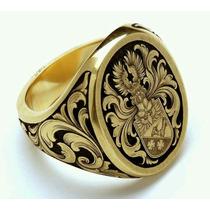 Anel Lord Brasão De Familia.ouro18k Joia Artistica