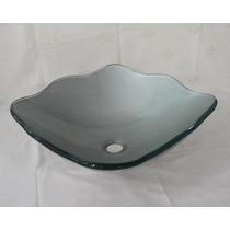 Cuba De Vidro Prata Para Banheiro - Quadrada Ondulada-42cm