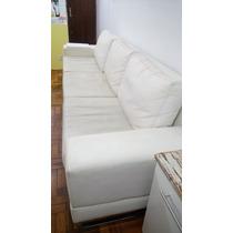 Sofá Branco Em Couro Ecológico 3 Metros - Super Confortável