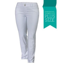 Calça Jeans Feminina Branca Lycra Cós Alto Plus Size 2219