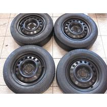 Jogo De Rodas Com Pneus R14 185x65 Vw / Ford