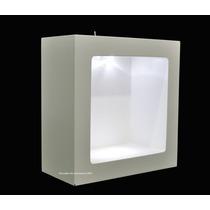 2 Nicho Duplo Quadrado Branco Com Led 24x24x10 Mdf - Madeira
