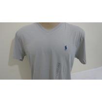 Camiseta Polo By Ralph Lauren Cinza Tamanho P Gola Em V