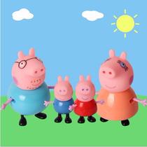 Miniaturas Família Peppa Pig, George, Papai E Mamãe Pig