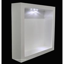 6 Nicho Duplo Quadrado Branco Com Led 40x40x10 Mdf - Madeira