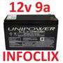Bateria Recarregável 12v 9a Up1290 Nobreak 9ah Unipower