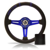 Volante Esportivo Driver Azul 350mm Com Cubo Fusca Brasilia