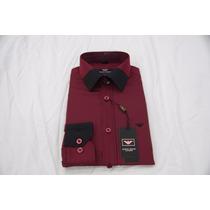 Camisa Social Masculina Armani , Cor Vermelho Escuro Pret