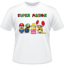 Camiseta Minions Super Mario Frente Verso Camisa