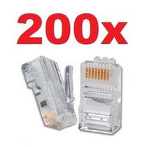 Conector Rj45 Cabo Rede Rj 45 Lan Plug Kit Com 200 Peças @