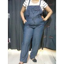 Macacão Gestante Plus Size Jeans Fino