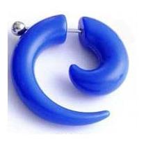 Brinco Piercing Falso Alargador Espiral Azul Bic Imita 8mm