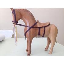 Cavalo De Madeira Maciça Com Arreio Decoração + Frete Gratis