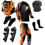 Kit Proteção Motocross Insane Pro Tork 5 Itens Laranja