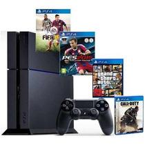 Playstation 4 Ps4 + 2 Jogos - Pronta Entrega - Promoção