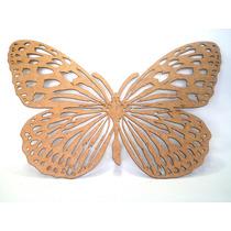 Quadro Escultura Borboleta 65x42cm Mdf Crú Rica Em Detalhes