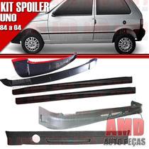 Kit Spoiler Uno 84 A 04 Dianteiro + Lateral + Aerofólio S/te