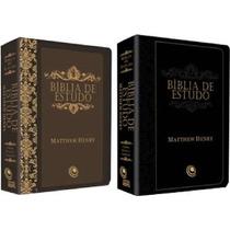 Bíblia De Estudo Matthew Henry Marrom E Preta - Cores