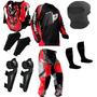 Kit Proteção Motocross Insane Pro Tork 5 Itens Vermelho